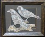 Load image into Gallery viewer, Framed original illustration of  two ravens