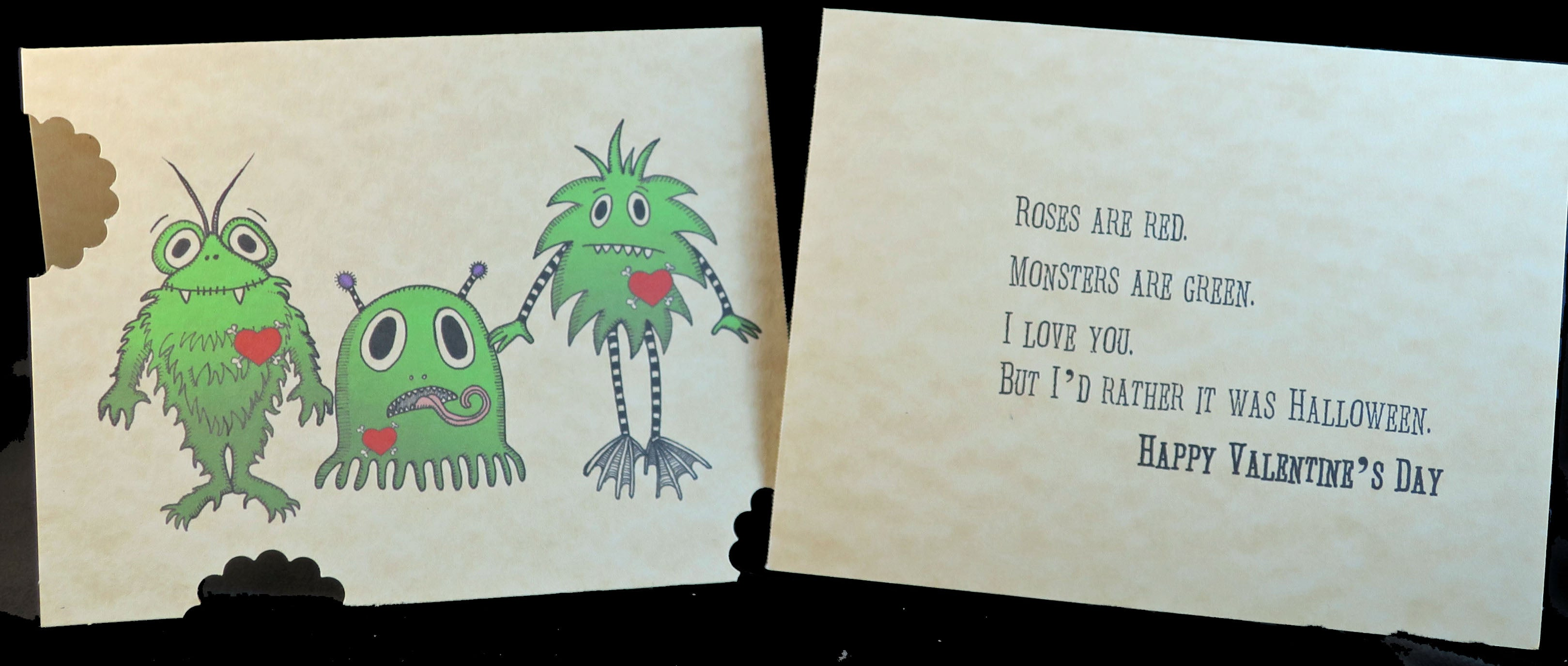 Green Monster Halloween Poem Valentine's Card