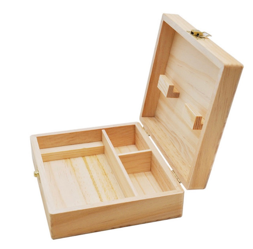 150mm Wooden Stash Box With Rolling Tray