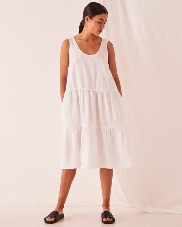 ASSEMBLY TIERED LINEN DRESS