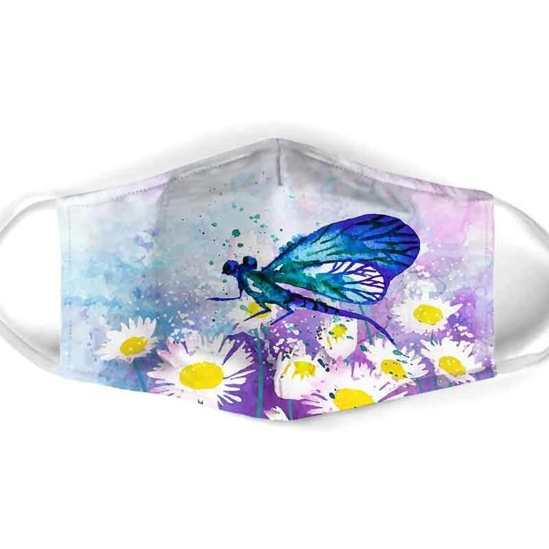 BLUE DRAGONFLY ON DAISY FIELD FACE MASK