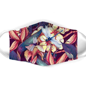 TROPICAL FLOWER DRAGONFLY FACE MASK