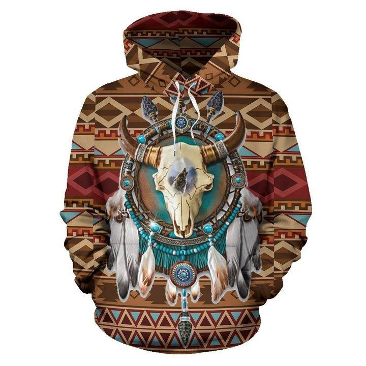 BISON ARROW BROWN NATIVE AMERICAN PRIDE ALL OVER HOODIE NVD1307 hh