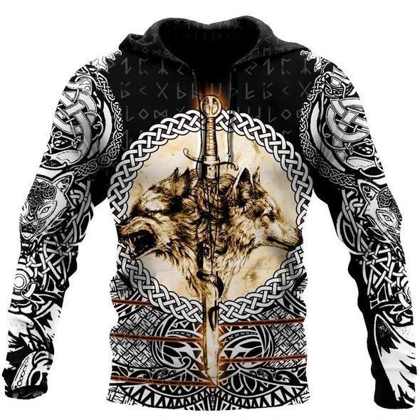 Wolf & Viking Tattoo 3D Over Printed Hoodie for Men and Women