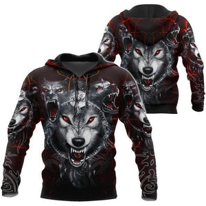 All Over Printed Wolf Hoodie MEI09102003MEI