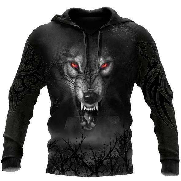 Dark Night Wolf 3D Over Printed Hoodie for Men and Women