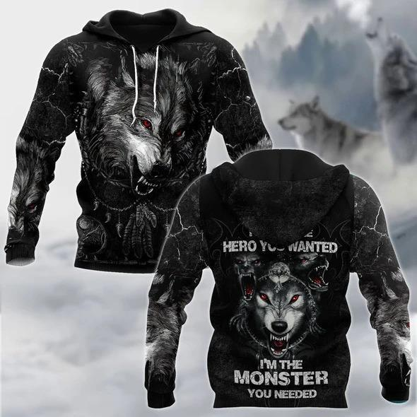 Wolf I Am Not Hero 3D Over Printed Hoodie Cloak for Men and Women