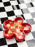 Checkered Flower Dish