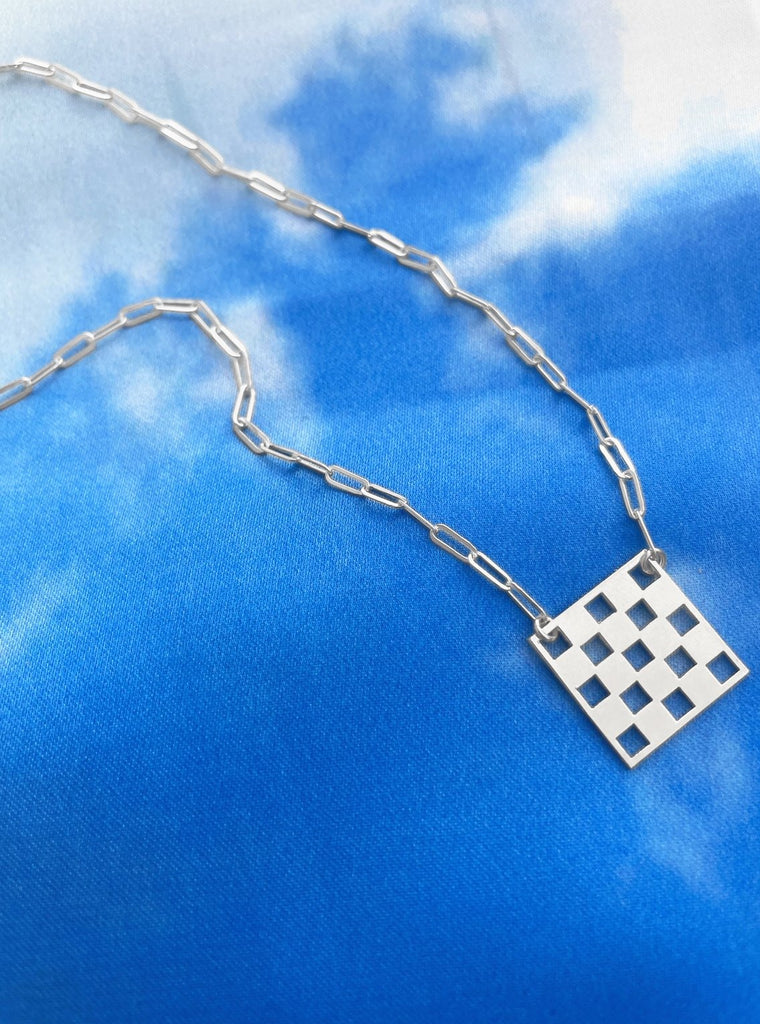 Checkered Necklace - Silver