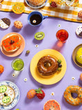 piecework rise and shine  bright colored art brunch food with gemstones puzzle