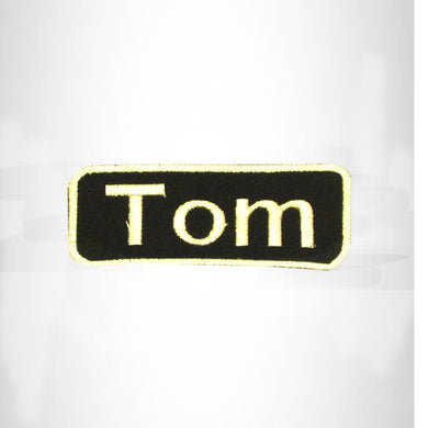 Tom White on Black Iron on Name Tag Patch for Biker Vest NB261