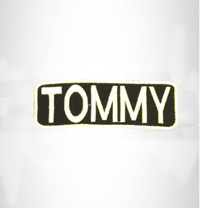 TOMMY White on Black Iron on Name Tag Patch for Biker Vest NB262