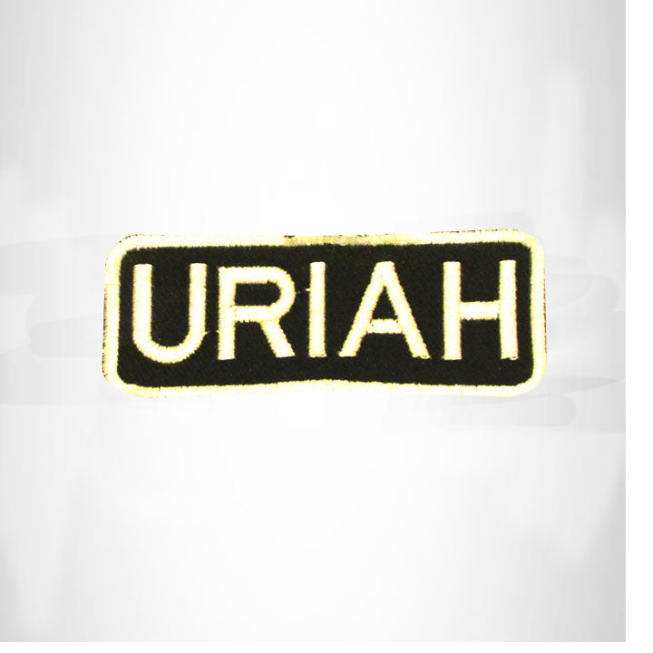 URIAH White on Black Iron on Name Tag Patch for Biker Vest NB263