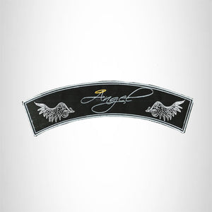 Angel Silver on Black Iron on Top Rocker Patch for Biker Vest Jacket TR403