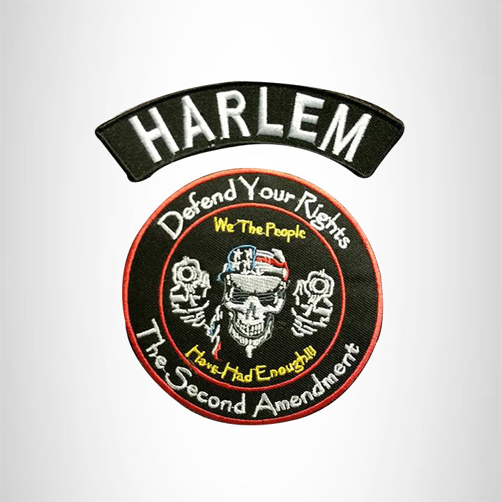 HARLEM Defend Your Rights the 2nd Amendment 2 Patches Set for Vest Jacket
