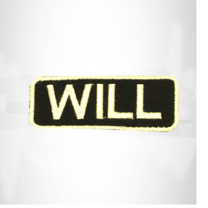 WILL White on Black Iron on Name Tag Patch for Biker Vest NB265