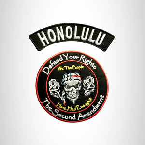 HONOLULU Defend Your Rights the 2nd Amendment 2 Patches Set for Vest Jacket
