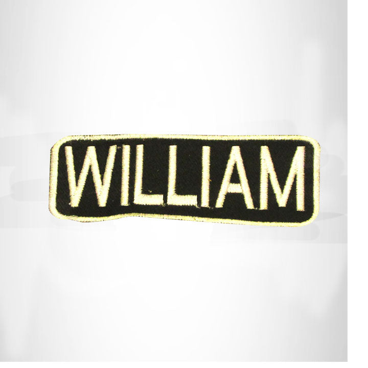 WILLIAM White on Black Iron on Name Tag Patch for Biker Vest NB266