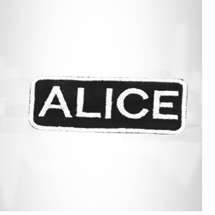 ALICE White on Black Iron on Name Tag Patch for Biker Vest NB268