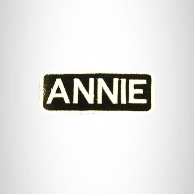 ANNIE White on Black Iron on Name Tag Patch for Biker Vest NB272