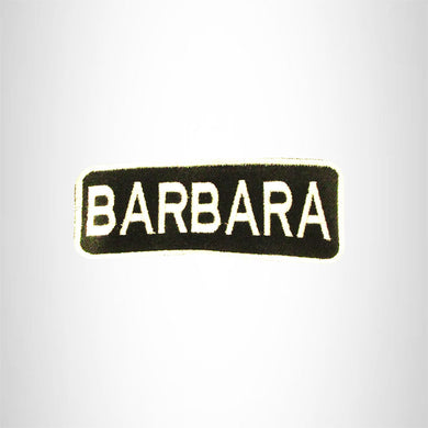 BARBARA White on Black Iron on Name Tag Patch for Biker Vest NB275