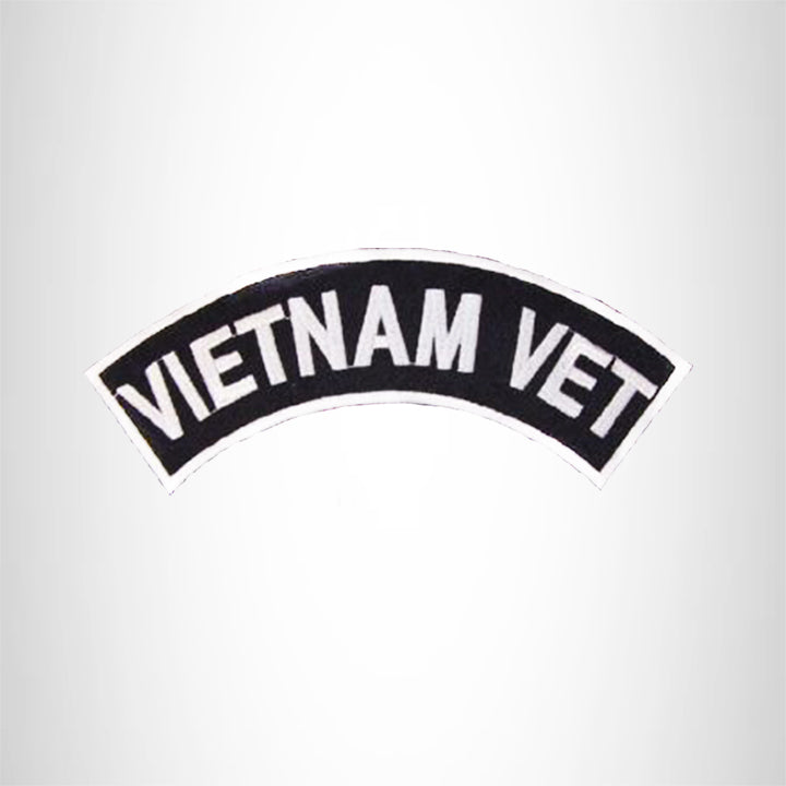 VIETNAM VET White on Black Top Rocker Patch for Motorcycle Jacket Vest