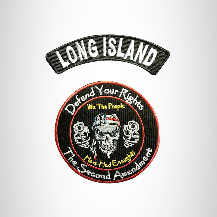 LONG ISLAND Defend Your Rights the 2nd Amendment 2 Patches Set for Vest Jacket