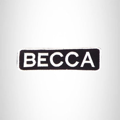 BECCA Black and White Name Tag Iron on Patch for Biker Vest and Jacket NB276