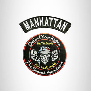 MANHATTAN Defend Your Rights the 2nd Amendment 2 Patches Set for Vest Jacket