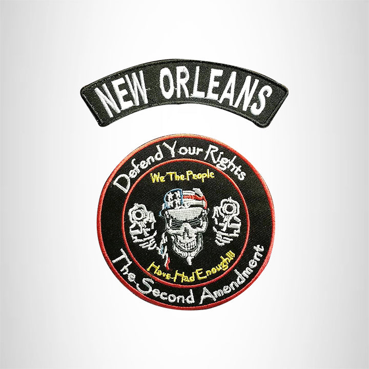 NEW ORLEANS Defend Your Rights the 2nd Amendment 2 Patches Set for Vest Jacket