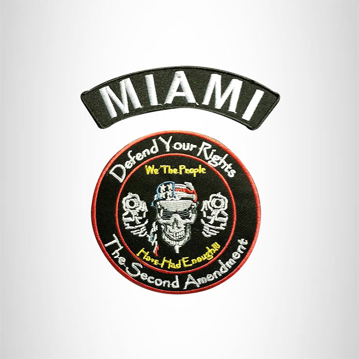 MIAMI Defend Your Rights the 2nd Amendment 2 Patches Set for Vest Jacket