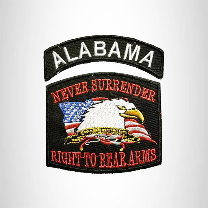 ALABAMA and NEVER SURRENDER Small Patches Set for Biker Vest