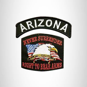 ARIZONA and NEVER SURRENDER Small Patches Set for Biker Vest