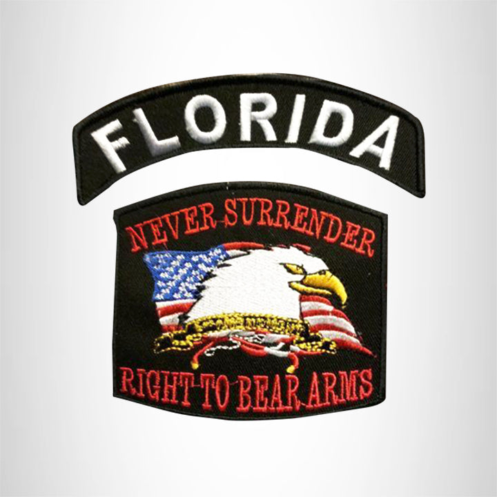 FLORIDA and NEVER SURRENDER Small Patches Set for Biker Vest