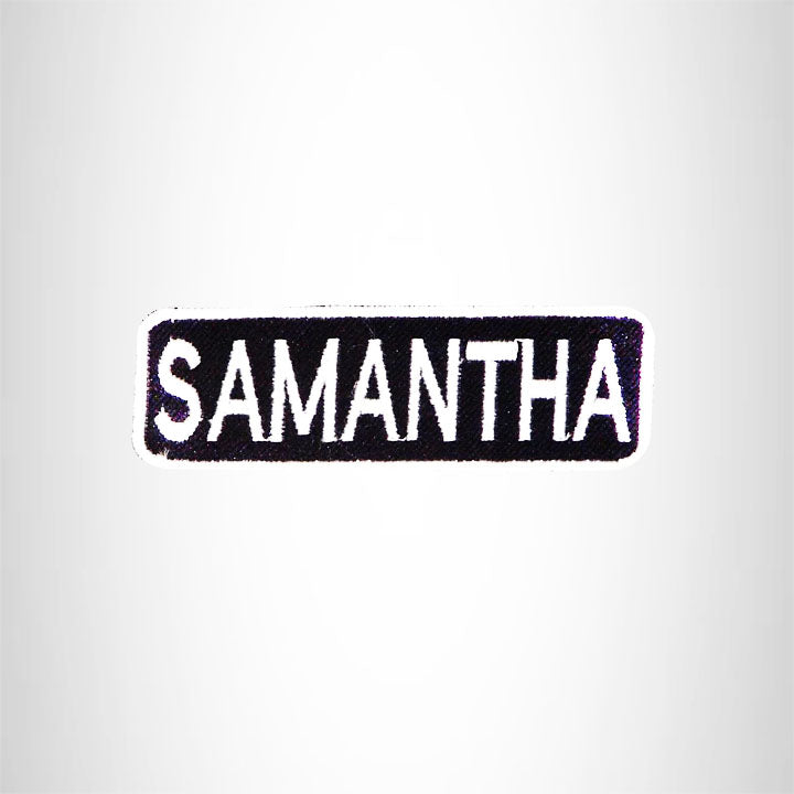 SAMANTHA Black and White Name Tag Iron on Patch for Biker Vest and Jacket NB316