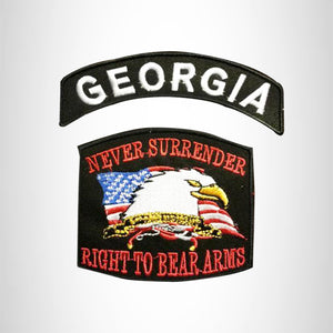 GEORGIA and NEVER SURRENDER Small Patches Set for Biker Vest