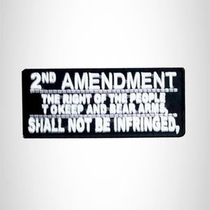 Small Patch 2nd Amendment White on Black Iron on for Biker Vest
