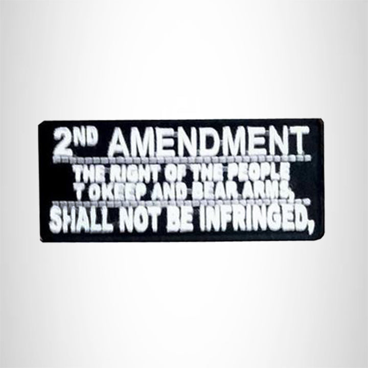 Small Patch 2nd Amendment White on Black Iron on for Biker Vest SB511