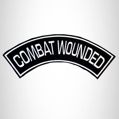 COMBAT WOUNDED Iron on Top Rocker Patch for Biker Vest Jacket TR209