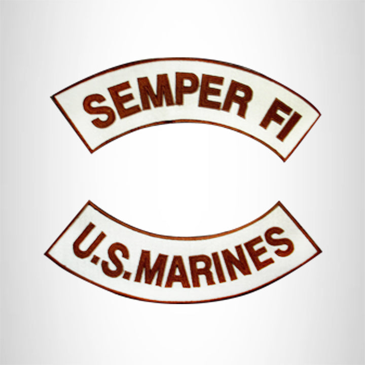 U.S Marines Semper Fi Iron on 2 Patches Set Sew on for Vest Jacket
