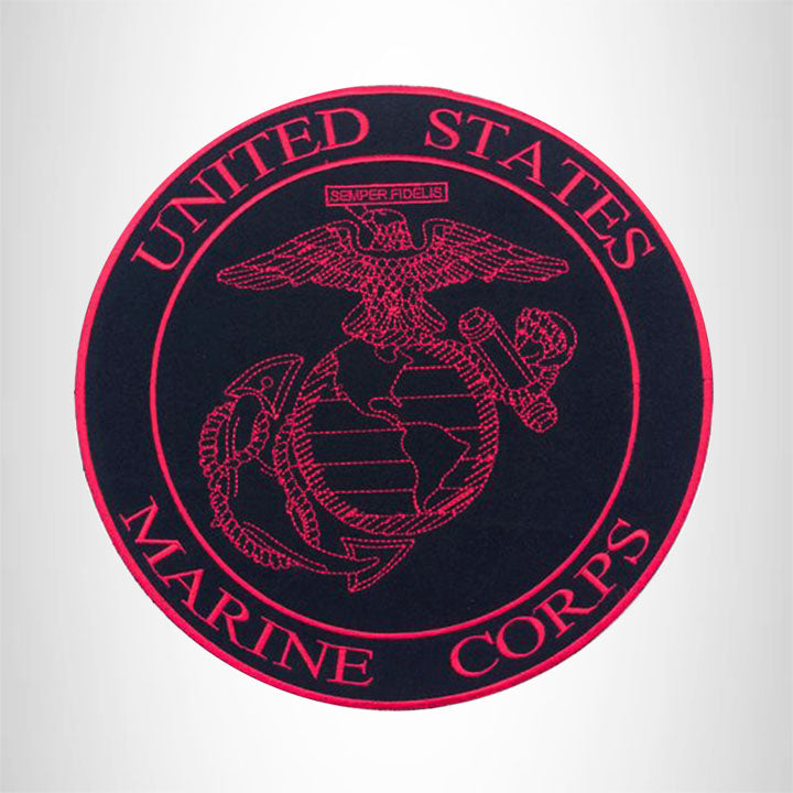 United States Marine Corps Red on Black Iron on Center Patch for Biker Vest CP177