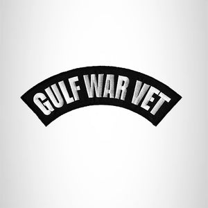 GULF WAR VET White on Black Iron on Top Rocker Patch for Biker Vest Jacket