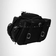 Load image into Gallery viewer, Motorcycle Detachable Saddlebag Zip off Studded Two strap Shielded bottom SAD645S