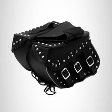 Load image into Gallery viewer, Motorcycle Detachable Saddlebag Studded Zip off with Reflective Tubing Three Strap