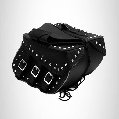Motorcycle Detachable Saddlebag Studded Zip off with Reflective Tubing Three Strap