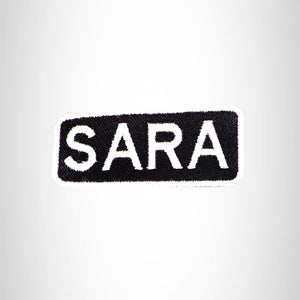 SARA Black and White Name Tag Iron on Patch for Biker Vest and Jacket NB317