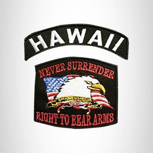 HAWAII and NEVER SURRENDER Small Patches Set for Biker Vest