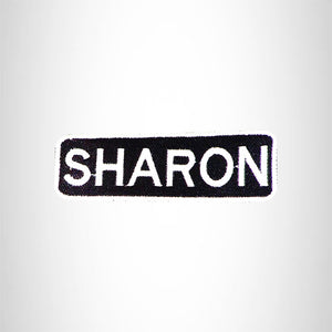 SHARON Black and White Name Tag Iron on Patch for Biker Vest and Jacket NB319