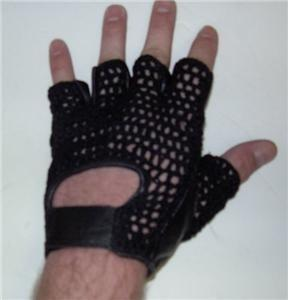 Fingerless summer gloves black leather gel palm