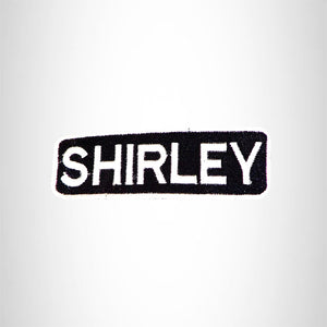 SHIRLEY Black and White Name Tag Iron on Patch for Biker Vest and Jacket NB320